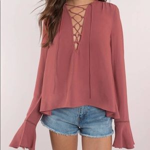 Forever 21 pink lace up longsleeve top size S
